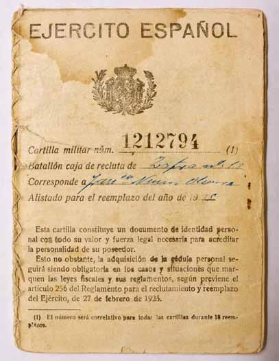 Francisco Núñez recibió su cartilla militar en Bienvenida el 31 de agosto de 1925