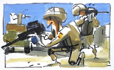 Soldados con Distintivo rojo. Misión: Recoger el cuerpo de un compañero caído.